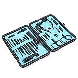 Kit para el cuidado de la pedicura, 19pcs/set Herramientas para la eliminación de la piel muerta de la cutícula hechas de acero inoxidable alto Vienen con estuche de almacenamiento, fácil de transport