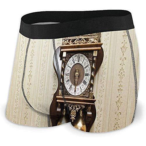 Men 'S Boxer Briefs Un Reloj de Talla de Madera de Estilo Antiguo con números Romanos Colgando en el diseño de la Pared
