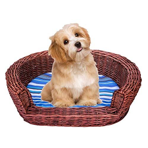 ZHOUMEI Gezellige Halfronde Huisdieren Rieten Geweven Bed, Prestige Rieten Wilg Basket Settee Bank met Kushion- Keuze van grootte (Kleur: Bruin, Maat : S55*45 * 18cm)