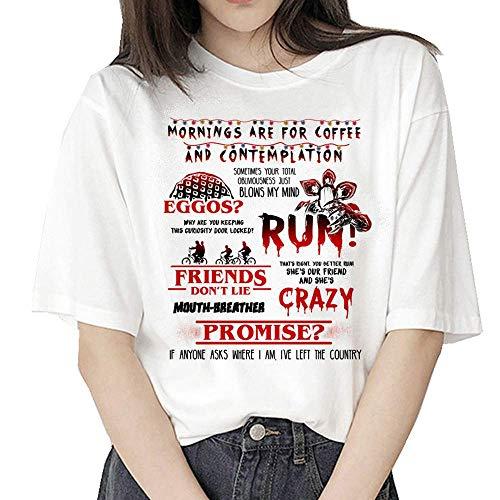 VERROL Stranger Things Maglietta per Donna, Stranger Things T-Shirt Maniche Corte Maglia con Stampa Lettera Estate Tops Camicetta Ragazza