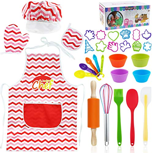 34-Pcs Kids Cooking and Baking Sets, Kids Chef Role Play Includes Apron for Little Boys & Girls, Chef Hat, Rolling pin, Spatula, Brush,Measuring Spoons, Cake Cutter, Silicone Cupcake Moulds for Kids