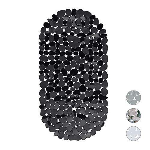 Relaxdays, Noir Baignoire Aspect Pierre, Tapis de Bain antidérapant, avec ventouses, Lavable, LxP: 36 x 68 cm, PVC, 1 élément