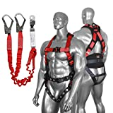 DCM SH-22015 Fall Protection Comfort Construction Safety Harness Kit with Double Hook Shoc...