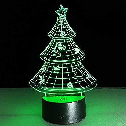 BFMBCHDJ Weihnachtsbaum 3D Nachtlampe 7 Bunte Tischlampe Luminaria Rot Grün Blau Gelb Cyan Lila Weiß Farbwechsel Lampara
