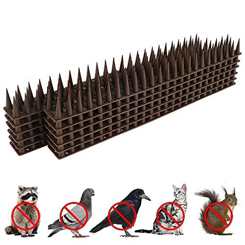 12 puntas de pájaros, repelente de pájaros, plástico, pinchos antipalomas de plástico, repelente de pájaros, balcón, ventana de techo (marrón)