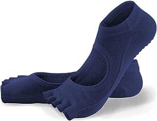 Calcetines de yoga Antenas Femeninas Antideslizantes Pilates Transpirable for Principiantes Dedos del pie Cinco Calcetines (Color : Blue)