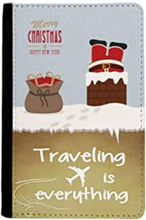 Christmas Santa Claus Gift New Year Traveling quato Passport Holder Travel Wallet Cover Case Card Purse