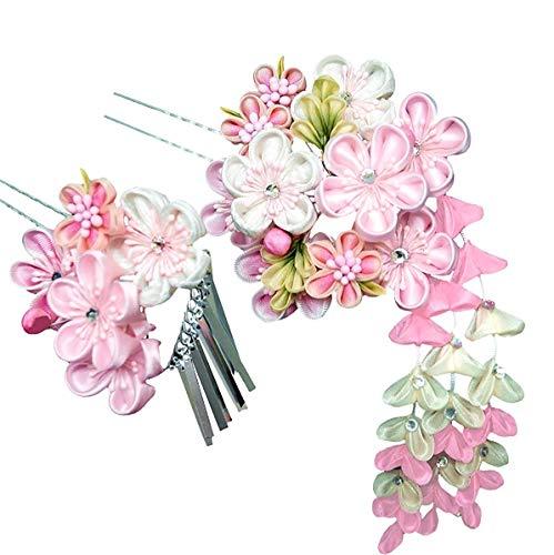 髪飾り 2点セット ピンク ホワイト 花 かんざし つまみ細工 振袖 成人式 卒業式 結婚式 七五三 袴 和装 wk-279