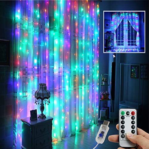 Multi-Color Curtain Lights String,9.8x9.8Ft 300 LED Hanging Fairy Lights for Bedroom Wall Room Decor, IP64 Waterproof & 8 Modes Lights