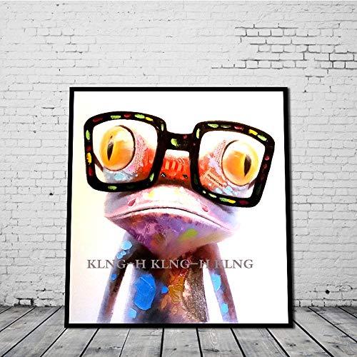 Dibujos Animados Anime Pintura al óleo Pintura a Mano de la Pintura al óleo Decorativa Moderna para el hogar Pintura de Arte un Pigmento con Gafas de Sol Rana Animal Sala de niños Sala en c-80cmx