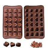 Olywee - Stampo per cioccolatini di San Valentino, confezione da 2 stampi in silicone per caramelle a forma di cuori, in confezione regalo antiaderente, per San Valentino