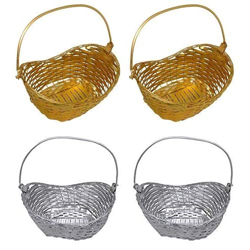 BOXO Baskets for Vegetable and Fruit Storage Baskets for Dining Table Pack of 1 (Set of 4 Golden Silver)