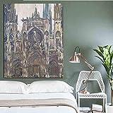 Zqcay HD Print Notre Dame De Paris Paisaje Pintura al óleo sobre Lienzo Arte Poster Impresionista Imagen de Pared para Sala de Estar-Cuadro 50X70 cm
