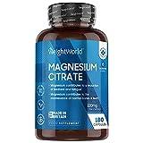 Citrato de Magnesio 740mg, 180 Cápsulas Vegano - 220mg de Magnesio...