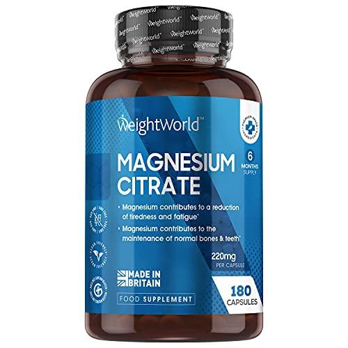 Magnesium Kapseln - 180 Kapseln - 740mg reines Magnesium Citrat mit 220mg elementares Mag - Knochen, Muskeln & Elektrolytgleichgewicht - Natürliche & Geprüfte Inhaltsstoffe - Vegan - Von WeightWorld