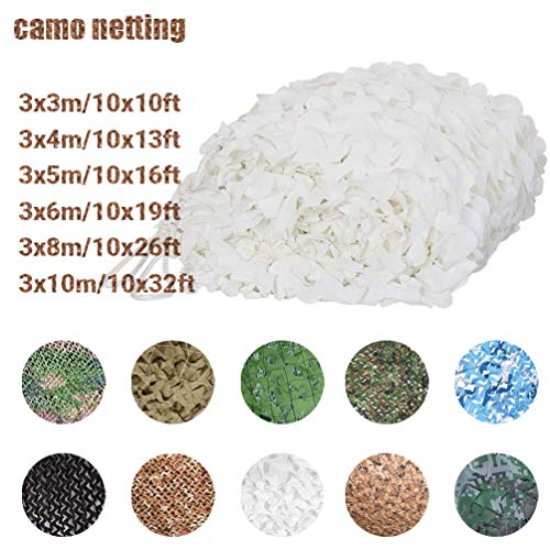 3 * 4M/10 * 13ft Large Camouflage Net Jungle Hunting Blinds 150D Polyester Snow-white Awning Net for Hunting Photography Camouflage Net Blinds (Color : -, Size : 3x3m/10x10ft)