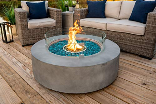 42' Round Modern Concrete Fire Pit Table w/ Glass Guard and Crystals in Gray by AKOYA Outdoor Essentials (Amber)