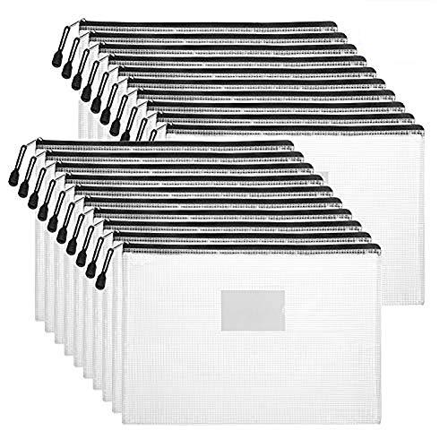 Sooez Plastic Mesh Zip File Document Folders, 20 Pack Letter Size A4 Size Zipper Document Pouch Waterproof Document Bag with Label Pocket & Zipper for School Office Home Travel Storage, Black