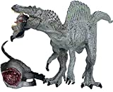 Gemini&Genius Jurassic World Spinosaurus Rex and Tenontosaurus Carcass Dinosaur Toys Standing and Movable Jaw Realistic Dinosaur Action Figures Toys for Kids 3-12 Years Old(12 Inches Grey)