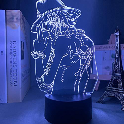 Lámpara de noche 3D de anime, ilusión de anime, lámpara de noche LED Portgas d Ace, luz nocturna para niños, dormitorio decoración, anime japonés, lámpara de una sola pieza de regalo 3D de ZMSY