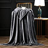 Bertte Luxury Decorative Velvet Pattern Bed Fleece Blanket Super Soft Cozy Warm Lightweight Throw for Sofa Couch, 50'x60', Dark Grey