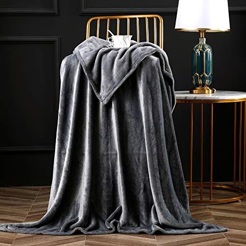 """Bertte Luxury Decorative Velvet Pattern Bed Fleece Blanket Super Soft Cozy Warm Lightweight Throw for Sofa Couch, 50""""x60"""", Dark Grey"""