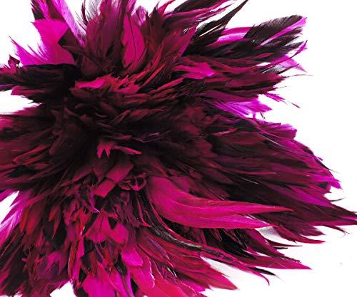 40pcs Rosa Fucsia Negro Teñido Gallo de Plumas Colgantes Pendientes de la Joyería de Sombreros y tocados Silla Traje de cazador de sueños 12-18 cm