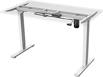 AIMEZO Height Adjustable Electric Standing Desk Frame Two-Stage Only with Heavy Duty Steel Stand up Desk (White)