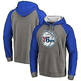 FANS LOVE Sudadera con Capucha NBA Philadelphia 76ers Fashion Youth Jersey Sports Casual Hecho para Uso Diario Y Camisetas De Baloncesto (S-3XL) Gray-blue-1-L