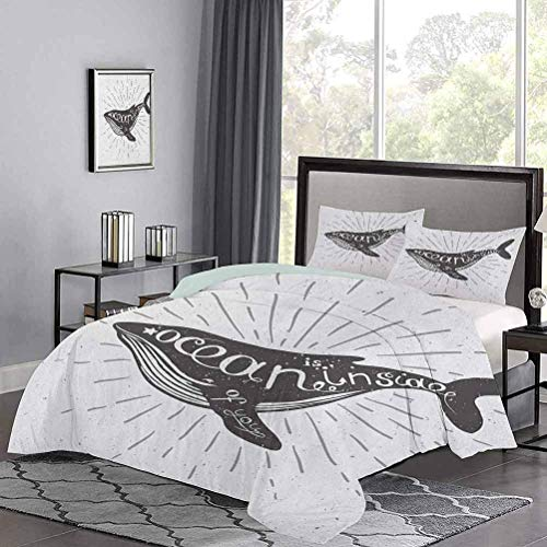 Yoyon Kinder 'Quilt Set Ocean in dir Inspirierende Typografie mit Big Fish Grunge Illustration Wunderschöner Bettbezug Genießen Sie einen tollen Nachtschlaf Anthrazit