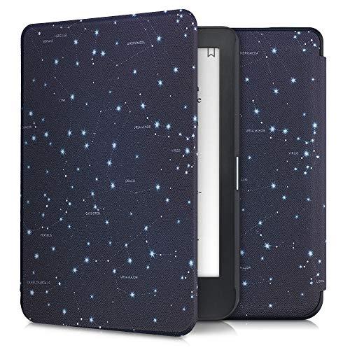 kwmobile Custodia Compatibile con Kobo Clara HD - Cover in Simil Pelle Magnetica Flip Case Custodia per eReader Bianco/Blu Scuro