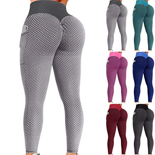 Leggings de levantamiento de glúteos TIK Tok para mujer con bolsillo, cintura alta, pantalones de yoga anticelulitis, gimnasio, yoga, correr, fitness, deportes, correr, yoga, pantalones atléticos