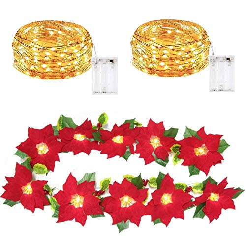 Migaven Poinsettia Flowers String Light [1 Pack], 118in Fairy Strip Lights [2 Packs], Battery Operated Waterproof Copper Wire Lights for Bedroom Christmas Birthday New Year Wedding Party (Warm Light)
