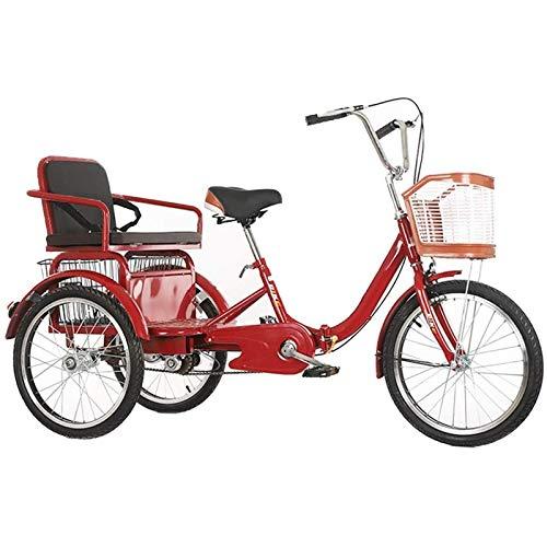 Triciclo per Adulti Biciclette a 3 ruote Adulto, Adulto Triciclo Anziani TRIKE 20 pollici Bici da crociera a tre ruote da crociera con cestino di grandi dimensioni per la ricreazione, shopping, eserci