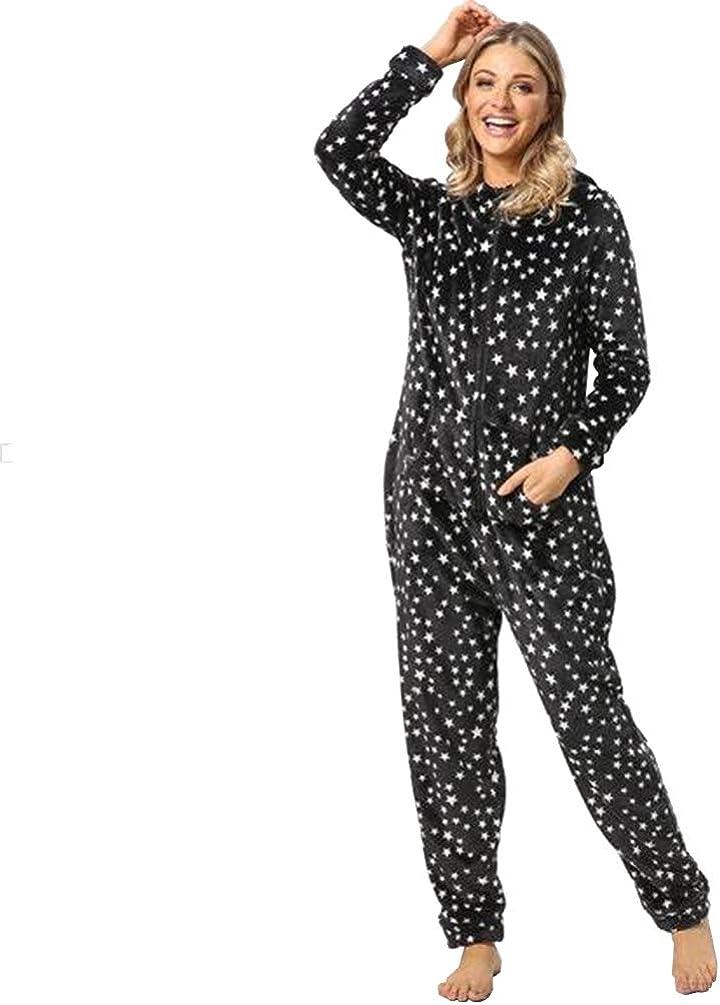 Ketamyy Mujer Pijama Mono Entero con Capucha Casual Cremallera Franela Jumpsuit Adulto Una Pieza Primavera Invierno Otoño Cómodo Termica Loungewear ...