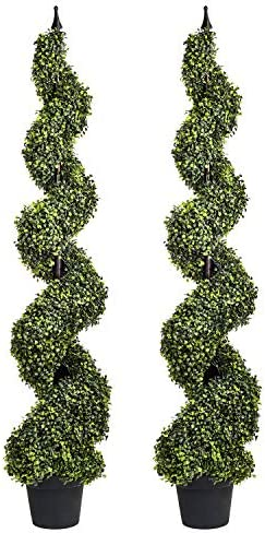 Artificial Cypress Spiral Topiary Trees Potted Indoor or Outdoor Spiral Boxwood Trees 4 Feet product image