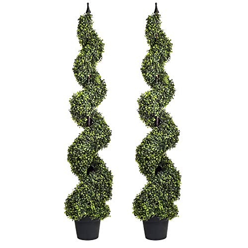 Artificial Cypress Spiral Topiary Trees Potted Indoor or Outdoor (Spiral Boxwood Trees, 4 Feet)