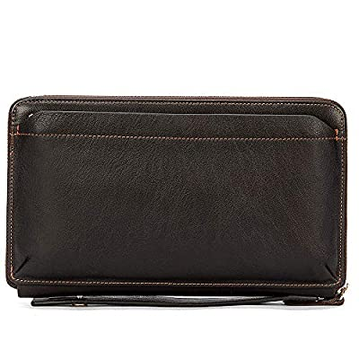 Real Leather Clutch Bags for Men Large Zip Around Genuine Leather Purse Vintage Retro Checkbook Handbag Coffee