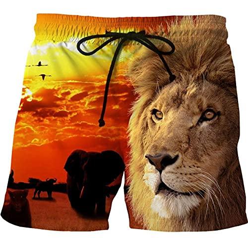 APCHYWEII Pantalones De Playa Cómodos Casuales Pantalones De Calle para Hombres Pantalones De Chándal De Moda Seco Transpirable Ligero León Animal-F_6XL