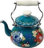 COLIBYOU Floral Dazzling 2-Quart Tea Kettle, Steel with Enamel Finish, (2-Quart Tea Kettle)