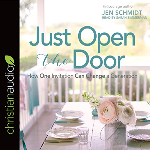 Just Open the Door     How One Invitation Can Change a Generation              De :                                                                                                                                 Jen Schmidt                               Lu par :                                                                                                                                 Sarah Zimmerman                      Durée : 6 h et 52 min     Pas de notations     Global 0,0