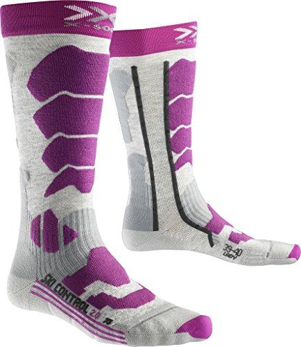 X-SOCKS Control 2.0 Chaussettes de Ski Femme, Light Grey Melange/Violet, FR : S (Taille Fabricant : 35-36)