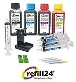 refill24 Kit de recharge pour cartouches d'encre HP 303/303 XL Noir et couleur Avec support et accessoires