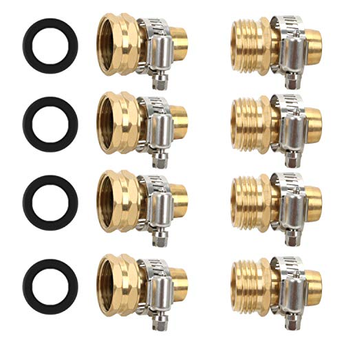 STYDDI Garden Hose Repair Kit, Solid Brass Mender Female and Male Hose Connector with Clamps, Fit All 5/8-Inch and 3/4-Inch Garden Hose, 4 Set