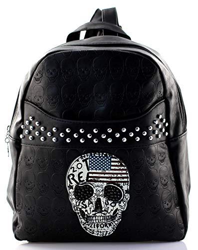 Rucksack für Damen mit Totenkopf Motiv Stars Stripes Amerika Flagge Gothic Punk Rock Rucksack Handtasche 27/37/11 cm (Breite*Höhe*Tiefe)