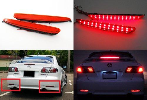 2x rot Objektiv Stoßstange hinten Reflektor LED Nebel Schwanz Stop Bremslicht DRL für 2002–07Mazda6Atenza GG GY MAZDASPEED6