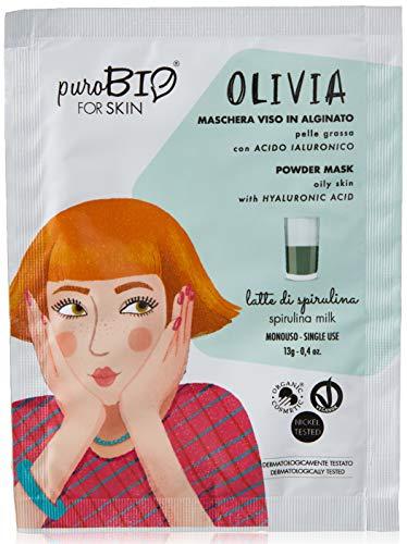 Purobio Olivia Maschera Viso Peel Off Per Pelli Grasse, 12 Latte Di Spirulina - 10 Ml