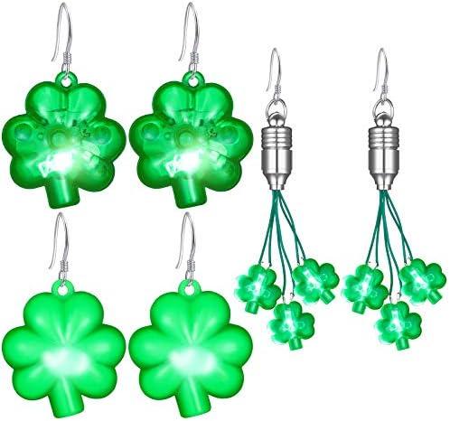 3 Pairs St Patrick s Day Light Up LED Shamrock Earrings Plastic Irish Clover Earrings St Patrick product image