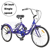 Adult Tricycle Trikes,7/1 Speed 3-Wheel Bikes,24/26 Inch Wheels Cruiser Bicycles with Large Shopping Basket for Women and Men Recreation, Exercise