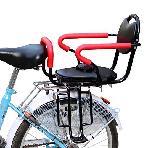 DKZK Fahrrad Kindersitz, Abnehmbarer FahrradrüCksitz, Kinderkonsole Mit Rutschfesten Armlehnen Und Pedalen, Gepolsterter Sicherheitsgurt FüR 2-6 Jahre Alten Kindersitz
